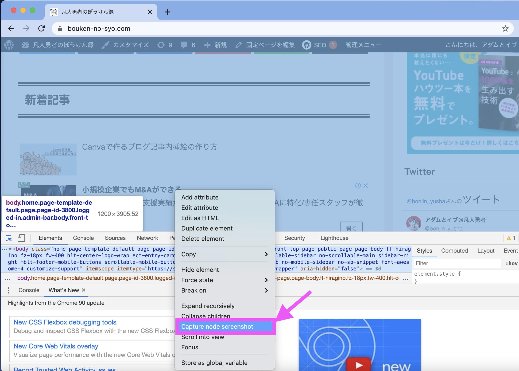 Chromeでページ全体のスクショを撮る方法2